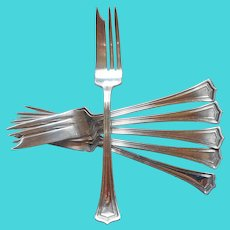 Scotia 1915 Pastry Forks Antique Silver Plated Set 6