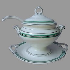 French Porcelain Sauce Gravy Tureen Lid Ladle Antique Green Black White