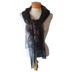 Painted Silk Chiffon Long Scarf Black With Lilacs Vintage