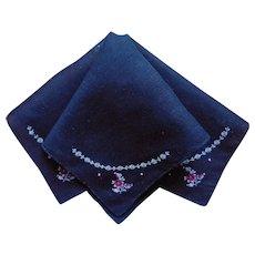 Black Hankie Hand Embroidery Vintage Cotton