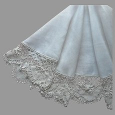 1910s Round Tablecloth Lace Linen Antique Worn TLC 46 Inch