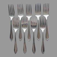 Sheraton 1910 Antique Silver Plated 9 Salad Forks Dessert Community Oneida