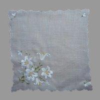 Lilies Embroidery Vintage Hankie Yellow White Cotton