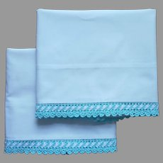 Vintage Pillowcases Aqua Crocheted Lace Trim Ric Rac Cotton