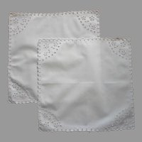 Pair Cutwork Square Doilies Hand Embroidered