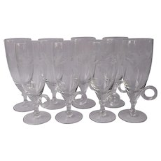 Irish Coffee Hot Toddy Drink Glasses Cut Leaves Set 8 Vintage
