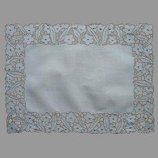 Cutwork Tray Doily Vintage Rectangular Linen Ecru Hand Embroidery