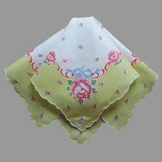 Unused Vintage Hankie Printed Cotton Burmel Chartreuse Pink Roses