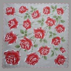 Unused Vintage Hankie Print Coral Roses Cotton