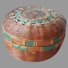 Chinese Sewing Basket Small Antique Painted Red Green