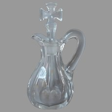 Holy Water Cruet Antique Blown Into Mold Glass Catholic