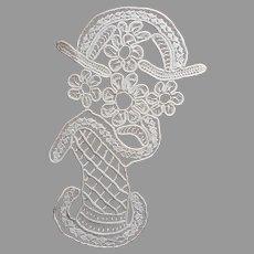 Macrame Lace Tape Braid Centerpiece Doily Vintage Flower Basket