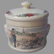 French Sarreguemines Obernai Pot Crock Porcelain Alsace Dancers Scenic
