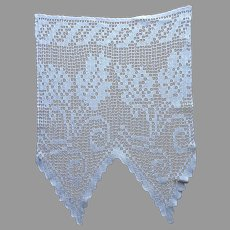 Small Valance Curtain Filet Crocheted Lace Vintage Pointed