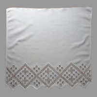 Hardanger Small Curtain Hand Embroidered Vintage