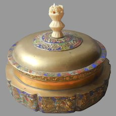 1920s Chinese Brass Enamel Round Box Large Antique