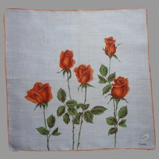 Vintage Unused Hankie Orange Roses Print Hand Printed Semi Sheer