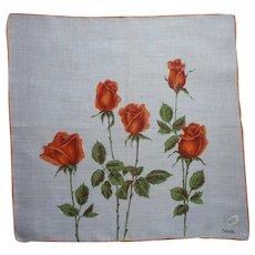 Vintage Unused Hankie Orange Roses Print Hand Printed Semi Sheer