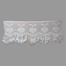 Filet Crocheted Lace Valance Thick Cotton Cream Strawberries Fringe