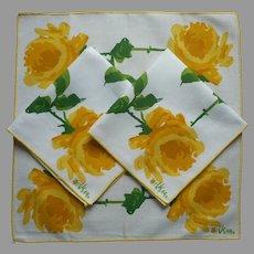 Vera Neumann Napkins 3 Yellow Roses Vintage