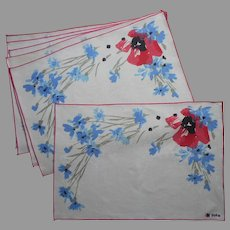 Vera Neumann Placemats Set 6 Pink Poppy Blue Cornflowers Vintage