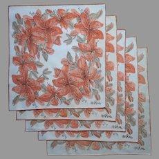 Vera Neumann Napkins 5 Vintage Azalea Rhododendron Orange Peach