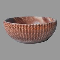 Comanche Pottery Bowl Vintage Swirled Sawtooth Ribbed Oxford MS