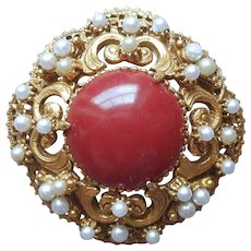 Florenza Pin Vintage Victorian Revival Faux Carnelian Seed Pearls