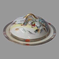 Nippon Muffin Dome Dish Lid Antique Porcelain Geisha Lake Scene