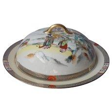 Nippon Muffin Dome Dish Lid Antique Porcelain Geisha Lake Scene
