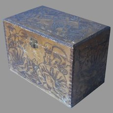 Pyrography Post Cards Storage Box Antique Wood Flemish Art Poppies