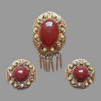 Florenza Victorian Revival Pin Earrings Vintage Fringe Faux Carnelian Pearls TLC