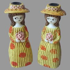 ca 1970 Papier Mache Candlesticks Vintage Japan Side Eye Girl JSC Vicky