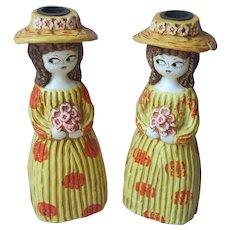 ca 1970 Papier Mache Candlesticks Vintage Japan Side Eye Girl JSC Vicky