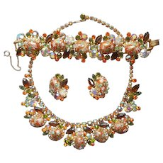 Juliana Easter Egg Necklace Earrings Bracelet Set Fall Colors Vintage