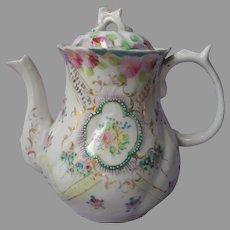 Nippon Era Teapot Hand Painted Porcelain Antique Small A Bit TLC