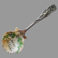 Port Arthur Texas Souvenir Spoon Hand Painted Shell Mermaid Antique