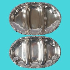 Pair Small Relish Trays Silver Plated On Copper Vintage