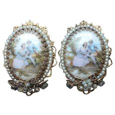 Filigree Wired Faux Seed Pearls Porcelain Clip Earrings Romantic Scene