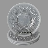 Moonstone Opalescent Hobnail Plates 4 Anchor Hocking Vintage
