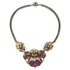 1930s Victorian Revival Necklace Pink Glass Stones Vintage