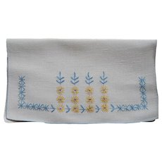 Hankie Pouch Hand Embroidered Linen Blue Yellow Vintage