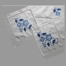 Pair Dresser Scarf Valances Blue Hand Embroidery Lace Vintage Cotton