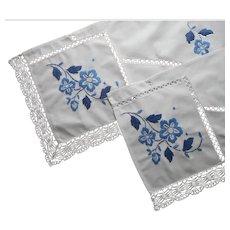 Pair Dresser Scarf Valances Blue Hand Embroidery Lace Vintage Cotton