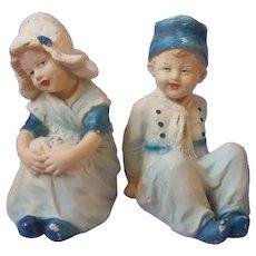 Bookends Dutch Children Vintage Chalkware Boy Girl Blue Cream