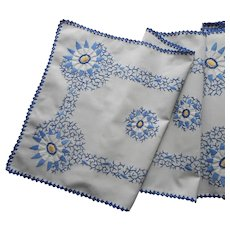 ca 1930 Runner Blue Yellow White Hand Embroidery Vintage TLC