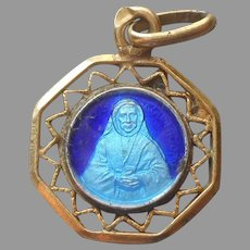 Tiny St. Elizabeth Medal Enamel Vintage Gold Filled Blue Catholic