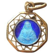 Tiny St. Elizabeth Medal Enamel Vintage Gold Filled Blue Catholic