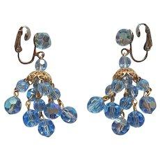 Light Blue Cut Crystal Beads Chandelier Clip Earrings Vintage