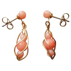 Imitation Coral Pierced Drop Earrings Gold Tone Look Very Real On
